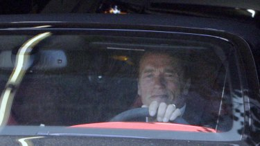 Arnold Schwarzenegger leaves his office on  Tuesday.