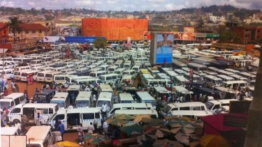 The taxi industry lobby has distributed this picture of a Kampala, Uganda taxi depot arguing Sydney will look like this if regulation is reduced for apps.