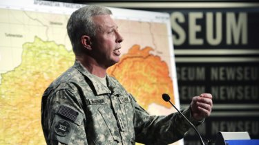 US General David McKiernan briefs the media n Washington.