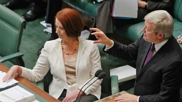 Battle for the leadership ... Julia Gillard and Kevin Rudd appear to be at odds.