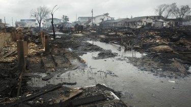 Destruction ... Homes destroyed in Breezy Point.