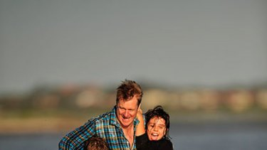 Special times ... William McInnes with his daughter Stella (left) and her friend Grace.