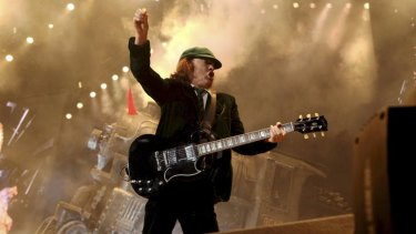 AC/DC guitarist Angus Young plays in Sydney on February 18 2010.