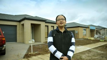 Lonely: Tony Zhang outside his house at Watagan Street, Tarneit. He and his wife are the first residents of The Reserve.