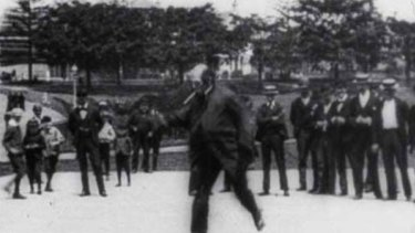 A screen grab from what is believed to be Australia's oldest surviving film, Patineur Grotesque.