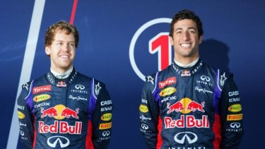 The fast show: Ricciardo (at right) with his teammate, German champion Sebastian Vettel.