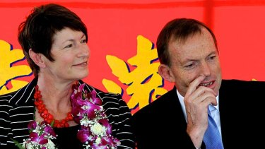 Low-key path to refreshment tent ... Margie and Tony Abbott.