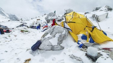 The Mount Everest south base camp in Nepal is seen a day after a huge avalanche, triggered by the earthquake, killed at least 17 people.