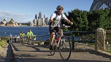 """Everyone was there to laugh, meet people and be social"" … Craig Francis with the Sydney Bike Hash cycling group."