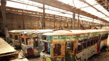 Vandalised and covered in graffiti... two of the six trams, some dating back to the 1930s, and the old coach stored in the crumbling Rozelle tram depot shed at Glebe.