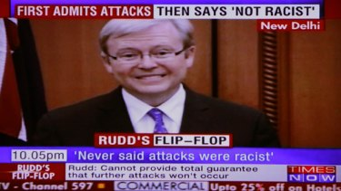 Grilling ... how the Indian news channel Times Now portrayed the Prime Minister's comments about attacks in Australia.