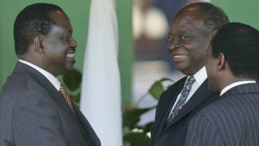Men's business: Kenya's Prime Minister, President and Vice-President.
