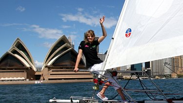 Tough proposition ... teen solo sailor Jessica Watson sails into Sydney Harbour on Wednesday on the first stage of her round the world trip.