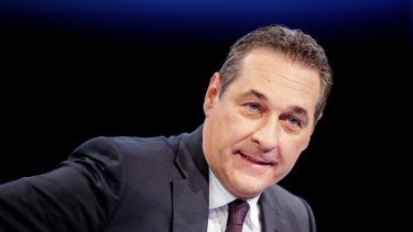 Heinz-Christian Strache, leader of the Freedom Party (FPOe), speaks ahead of a TV debate in Vienna on Monday.