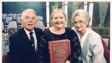 With her parents, Peter and Margaret, after her appearance on <i>This is Your Life</i> in 1996.