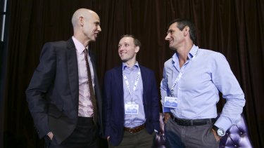 (left to right) Ben Perham from Macquarie Bank, Toby Norton-Smith from CBA and Martin Barrett from AusWide Bank at the  ALTFI AUSTRALASIA SUMMIT 2016 in Sydney.