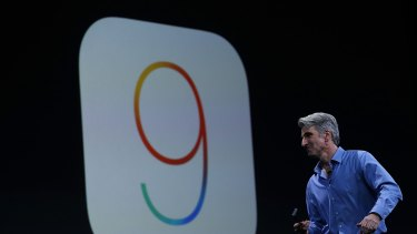 Craig Federighi, Apple senior vice president of software engineering, speaks about iOS 9 during Apple's Worldwide Developer Conference in June.