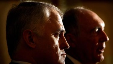 Head on...the Opposition Leader, Malcolm Turnbull, and the leader of the Nationals, Warren Truss, in Canberra yesterday.