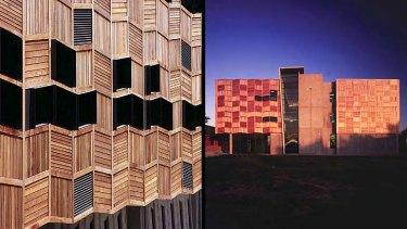 Wooden skin: The RMIT textiles building.