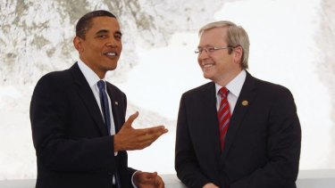 High society ... the Global Carbon Capture and Storage Institute put Kevin Rudd on stage with Barack Obama.