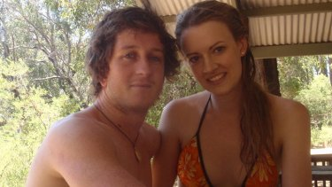 Shark attack victim Ben Linden with his girlfriend Alana Noakes.