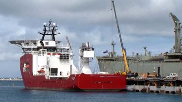 Loaded with a ''pinger'' locator and an underwater drone: Australian defence vessel Ocean Shield.