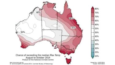 Maximum temperatures likely to be on the warm side across eastern Australia.