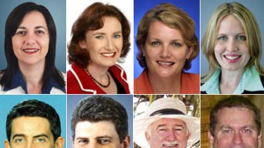 Queensland's new cabinet ministers (top, from left) Annastacia Palaszczuk, Rachel Nolan, Karen Struthers, Kate Jones, (bottom, from left) Cameron Dick, Stirling Hinchliffe, Peter Lawlor and Phil Reeves.