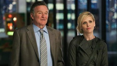 Robin Williams in his recent television series <i>The Crazy Ones</i>.