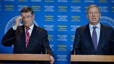 Premier Denis Napthine was seen making 'wild gesticulations' at Health Minister David Davis.