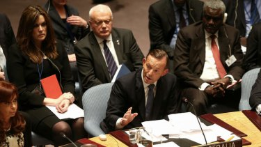 Prime Minister Tony Abbott addresses the United Nations Security Council.
