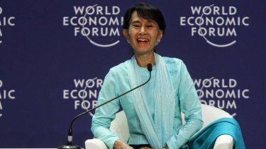 Aung San Suu Kyi warned China and the US against becoming rivals for influence in Burma.