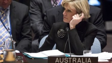 Unpopular stance: Foreign Affairs Minister Julie Bishop at the UN.