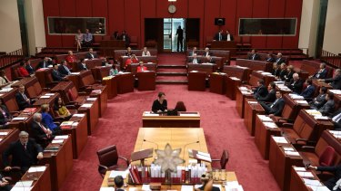Senate President Stephen Parry calls for a vote on the government's higher education reforms.