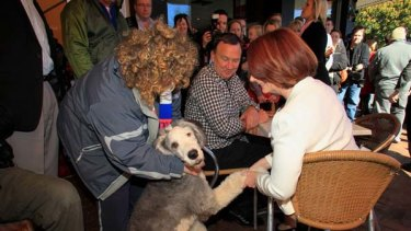 Shaking off a disappointing election result ...  Julia Gillard meets Sunny, an English sheepdog,  while having breakfast with her partner Tim Mathieson in Altona yesterday.