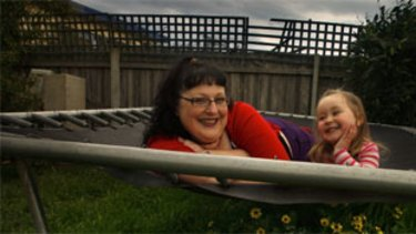 Bri King, author of the popular blog Fat Lot of Good, with her daughter Ruby, 2, at home in Sale.