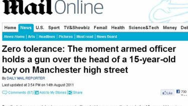 Zero tolerance: How the UK's Daily Mail reported the arrest of a young looting suspect at gunpoint in Manchester.