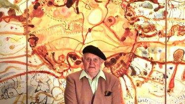 Artist John Olsen and his work, <em>Sydney Sun</em>.