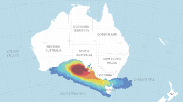 Areas potentially affected by a major winter blow-out of a BP exploration well in the Great Australian Bight