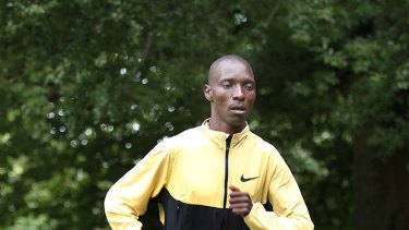 Man on a mission: Asbel Kiprop, who finished second in the 1500 metres last year, trains yesterday.