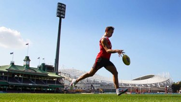 Warrior … Jude Bolton kicking for goal at training this week.