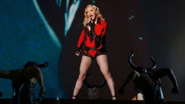 Madonna performs <i>Living for Love</i> at the Grammys earlier this year.