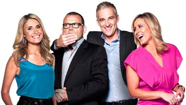 Gagged ... Ten Breakfast hosts Magdalena Roze, Paul Henry, former presenter Andrew Rochford and Kathryn Robinson.