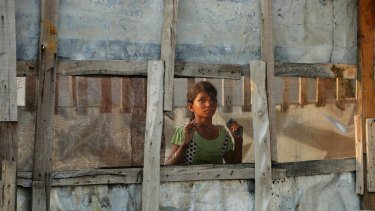 A Rohingya refugee at a camp on the outskirts of Jammu, India.