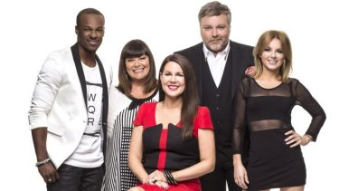 Still got it? AGT's previous judges Timomatic, Dawn French, Kyle Sandilands and Geri Halliwell with presenter Julia Morris.
