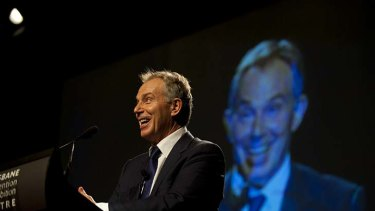 Former British prime minister Tony Blair addresses a Brisbane audience.