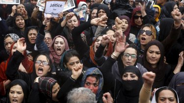 Angry protesters in Kabul.