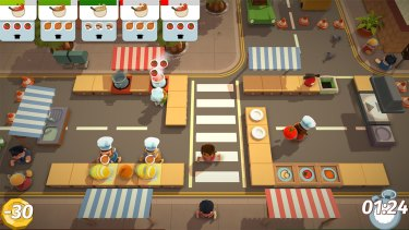 An early level in <i>Overcooked</i> sees you dodging pedestrians to cook soup.