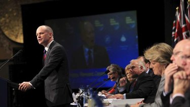 Queensland Premier Campbell Newman addresses the Liberal Party's 56th Federal council meeting in Melbourne.