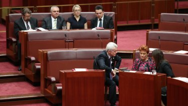 Senate crossbenchers Derryn Hinch, Stirling Griff, Skye Kakoschke-Moore and Nick Xenophon with Malcolm Roberts, Pauline Hanson and Jacqui Lambie.